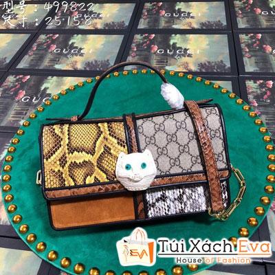 Túi Xách Gucci Patchwork Small Top Handle Bag Siêu Cấp Khóa Con Mèo 499822