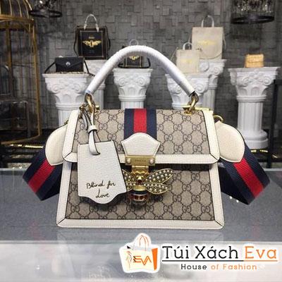 Túi Xách Gucci Queen Margaret Siêu Cấp Màu Trắng Khóa Con Ong 476541