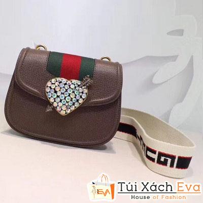 Túi Xách Gucci Siêu Cấp Đính Đá Hình Trái Tim Màu Nâu