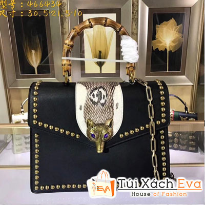 Túi Xách Gucci Siêu Cấp Màu Đen Quai Gỗ Hồ Ly