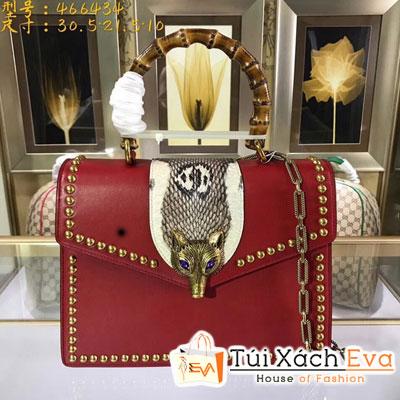 Túi Xách Gucci Siêu Cấp Màu Đỏ Quai Gỗ Hồ Ly