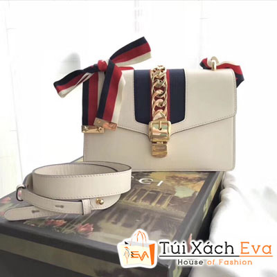 Túi Xách Gucci Siêu Cấp Màu Trắng Sọc Xích