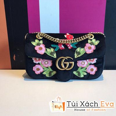 Túi Xách Gucci Super Nhung Thiêu Hoa Logo Gucci
