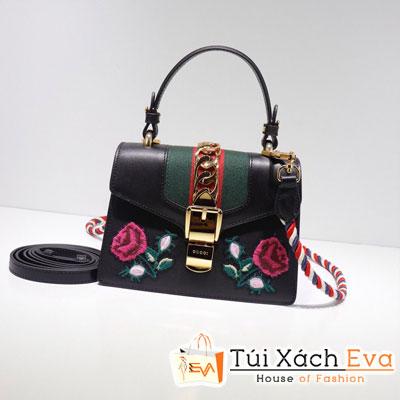 Túi Xách Gucci Sylvie Embroidered Mini Bag Màu Đen 470270