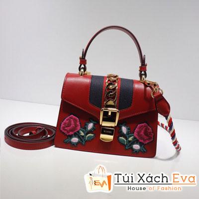 Túi Xách Gucci Sylvie Embroidered Mini Bag Màu Đỏ 470270