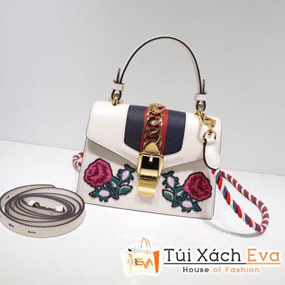 Túi Xách Gucci Sylvie Embroidered Mini Bag Màu Trắng 470270