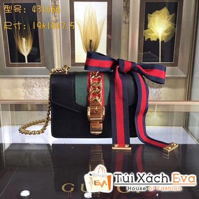 Túi Xách Gucci Sylvie Siêu Cấp Vải Sọc Xích Màu Đen