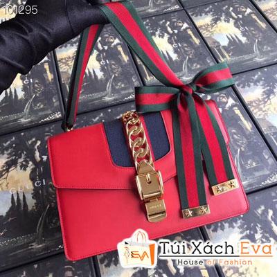Túi Xách Gucci Sylvie Siêu Cấp Viền Vải Xích Màu Đỏ