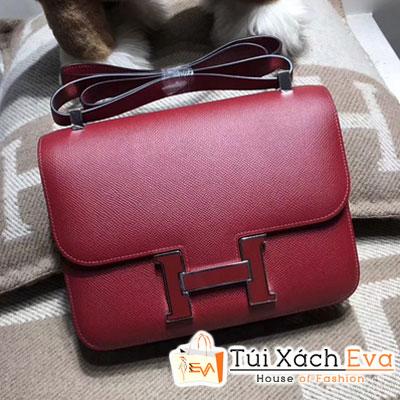 Túi  Xách  Hermes Constance Siêu Cấp Màu Đỏ Đô Khóa Đỏ