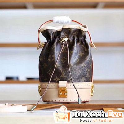 Túi Xách LV PETIT NOE Siêu Cấp Hoa Nâu Đậm Khóa Vàng Đẹp
