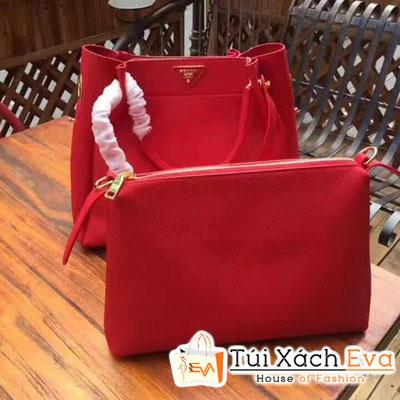 Túi Xách Prada Super Kèm Ví Nhỏ Size 34 Cm Màu Đỏ Đẹp