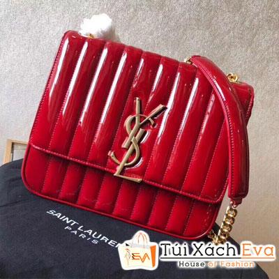 Túi Xách Ysl Large Vicky Bag Siêu Cấp Da Bóng Màu Đỏ