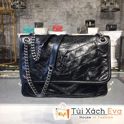 Túi Xách Ysl Niki Chain Bag Siêu Cấp Màu Đen Da Nhăn 498883