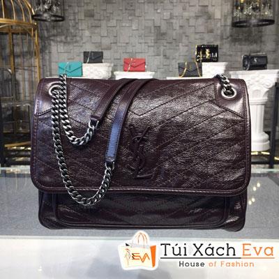 Túi Xách Ysl Niki Chain Bag Siêu Cấp Màu Đỏ Đô Da Nhăn 498883