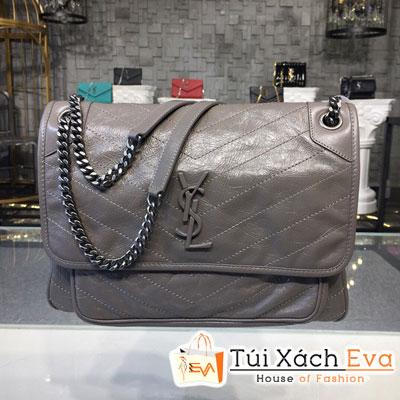 Túi Xách Ysl Niki Chain Bag Siêu Cấp Màu Xám Da Nhăn 498883