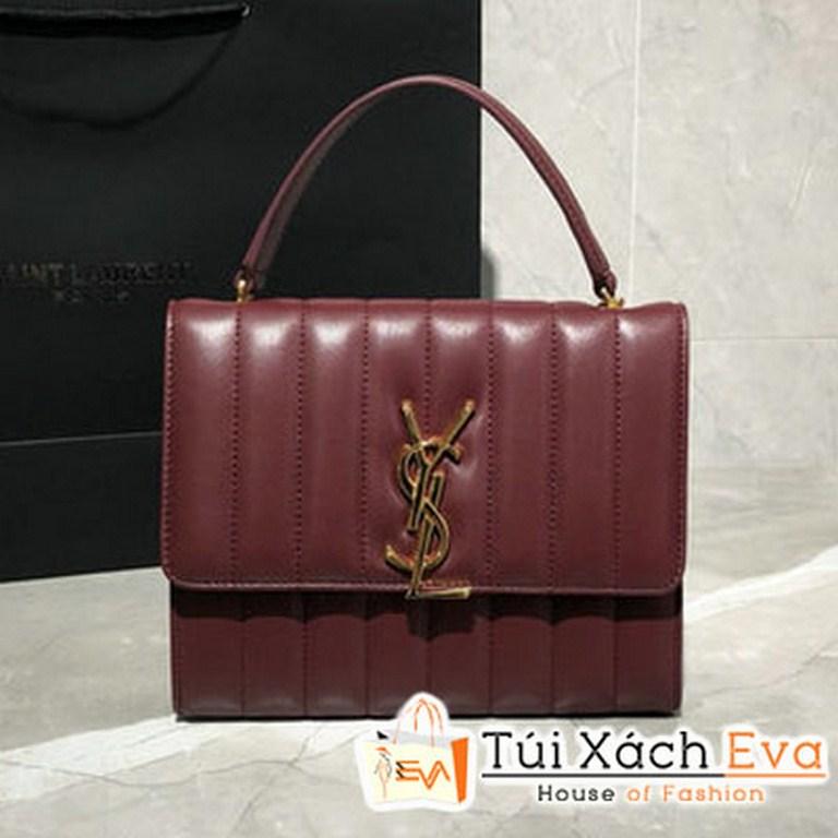 Túi Xách YSL Vicky Chain Wallet Siêu Cấp Burgundy  554125