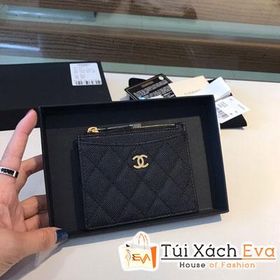 Ví Chanel Card Holder Wallet  Siêu Cấp Da Hạt Màu Đen