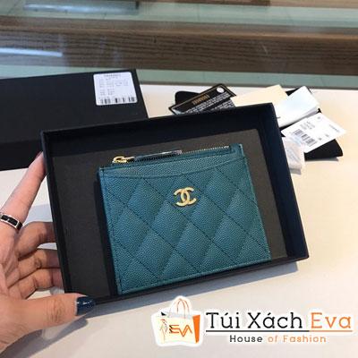 Ví Chanel Card Holder Wallet  Siêu Cấp Da Hạt Màu Xanh Dương