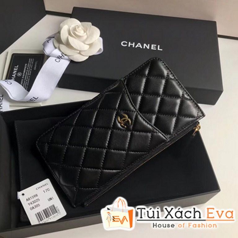 VÍ Chanel Dài Khóa Kéo Siêu Cấp Màu Đen A84402