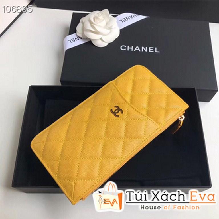 Ví Chanel  Dài Khóa Kéo Siêu Cấp Màu Vàng A84402
