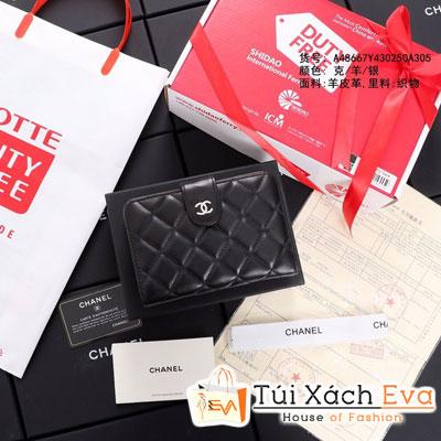 Ví Chanel Flap Short Wallet Siêu Cấp Màu Đen Da Lì Khóa Bạc A48667