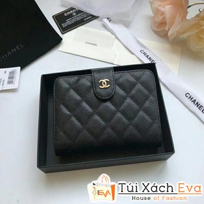 Ví Chanel Nắp Gập Siêu Cấp Da Hạt Khóa Vàng