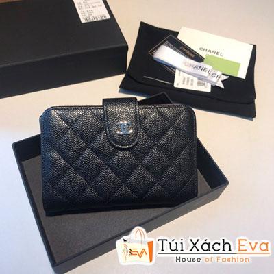 Ví Chanel Wallet Passport Leather Caviar Siêu Cấp Màu Đen