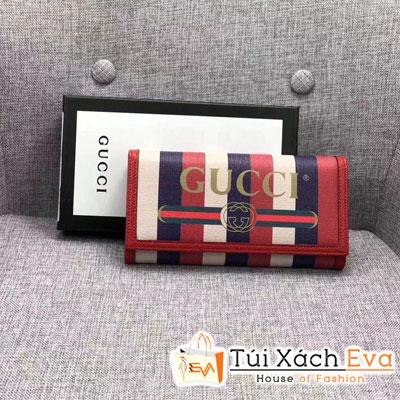 Ví Gucci Super Màu Đỏ Ba Sọc Nút Bấm