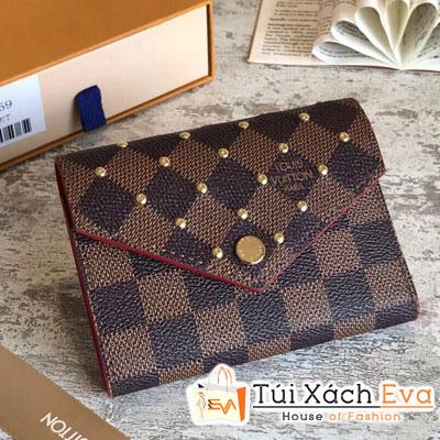 Ví Lv Victorine Wallet Siêu Cấp Ô Nâu Đinh N41659